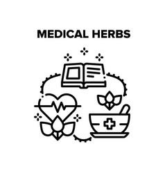 Medical herbs black vector