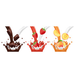 milk chocolate fruit juice flows vector image