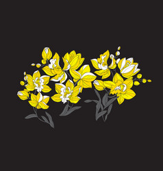 Modern style orchid in yellow and black colors vector