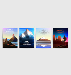 Mountains peaks card or brochure tourism on vector