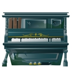 Old broken Grand piano with bullet holes vector image