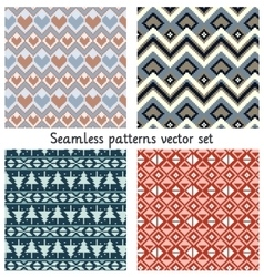 pixels seamless patterns set vector image