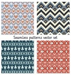 Pixels seamless patterns set vector