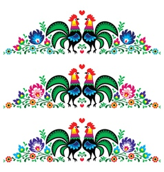 Polish floral folk long embroidery pattern rooster vector