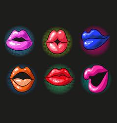 pop art sexy color female lips vector image