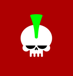 punk skull with mohawk head skeleton vector image