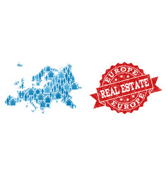 Real estate collage of mosaic map of europe and vector