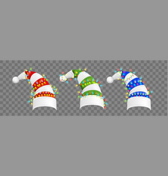 Realistic christmas hats set collection vector