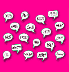 Retro comic speech bubbles chat expressions vector