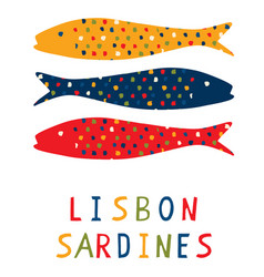 Sardine motif clipart with lisbon text grilled vector