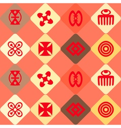seamless background with adinkra symbols vector image