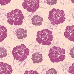 Seamless pink floral pattern with violet roses vector image vector image