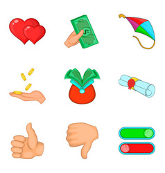 Select icons set cartoon style vector