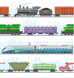 set modern and retro railway transport vector image