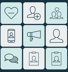 Set of 9 social icons includes conversation vector