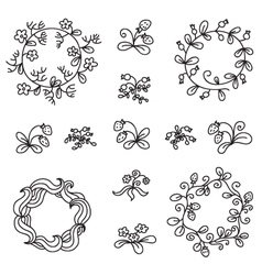 Set of hand-draw floral wreaths vector image