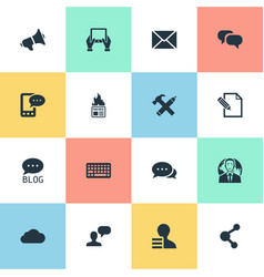 Set of simple blogging icons vector