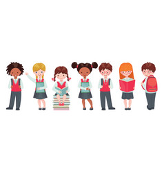 Set pupils with school supplies vector