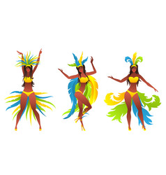 Showgirls with brazilian style carnival costumes vector