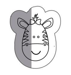 Silhouette face zebra ribbon bow head icon vector