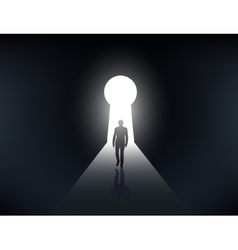 silhouette of a man walking in the light vector image