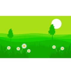 Silhouette of hill with flower at spring vector