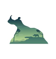 Silhouette of rhino in the hill landscape vector