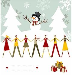 Snowman Happy Christmas card vector image