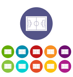 soccer field icons set flat vector image