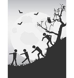Spooky halloween zombies background vector