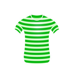 Striped t-shirt in green and white design vector