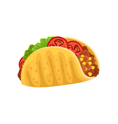 Taco with meat and vegetables traditional dish of vector