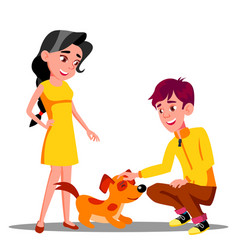 teenager petting the dog in park isolated vector image