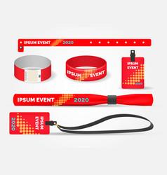 template entrance bracelets and badges vector image