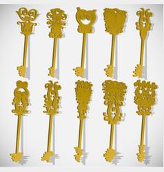 ten different keys 3d vector image