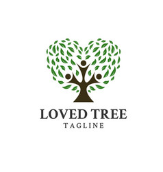 trees loveand people symbol on logo vector image