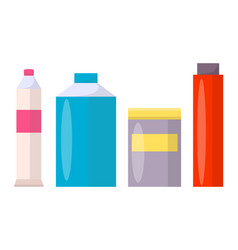 tubes and jars of all shapes with colorful paints vector image