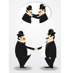 Two bankers shaking hands vector