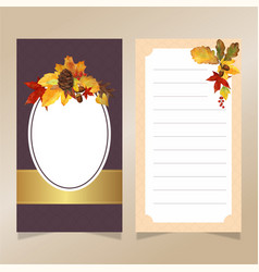 watercolor autumn leaves invitation card template vector image