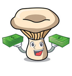 With money bag milk mushroom mascot cartoon vector