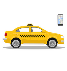 yellow taxi car and smarthone app for taxi vector image