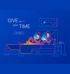 young couple spending time in bed using vector image