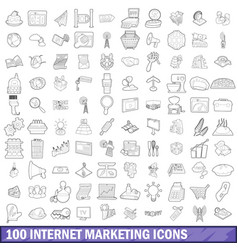 100 internet marketing icons set outline style vector image