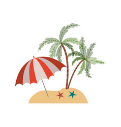 color silhouette of beach with palm trees and vector image vector image