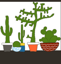 colorful set with cactus in pot vector image