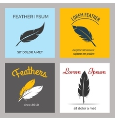 Feather logo set vector image vector image