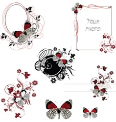 frames red and white butterfly vector image vector image
