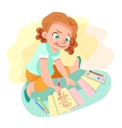 Girl drawing on paper vector image