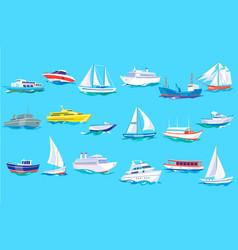 sea ship boat and yacht set ocean or marine vector image
