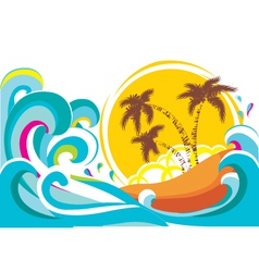 tropical island with waves background vector image vector image